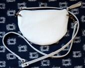 Nana handmade white leather mini crossbody bag