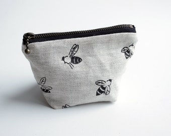 SALE 20% OFF - Coin Pouch - Black Bees