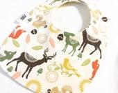 Sweet Deer - Infant or Toddler Bib - REVERSIBLE plus ADJUSTABLE snaps