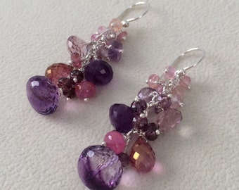 Gemstone Cluster Earrings in Sterling Silver, Moss Amethyst, Mystic Pink Topaz, Mystic Pink Quartz, Amethyst, Pink Sapphire, Spinel