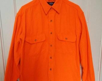 men's safety orange hunter shirt ls large dayglo neon polyester