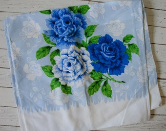 Vintage 1940's 1950's Cottom Blue Floral Tablecloth Rectangle
