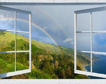 Wall mural window, self adhesive-California's Big Sur Coast Rainbow-3 sizes available-office decor - free US shipping