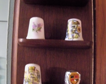 dark solid  hardwood thimble display rack  plus thimbles included