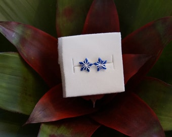 Atomic Starburst Stud Earring Set in Midnight Blue & Silver- Vintage Cabochons!