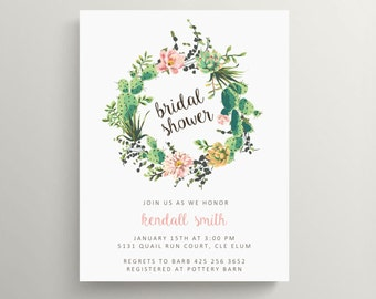succulent wreath bridal shower invitation // engagement party invitation // baby shower invitation // cactus // floral // thank you note