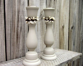 Taper Candle Holders, Gray, Painted Wood, Set of Two, Cottage Chic, Candlestick Pair, Choose Pip Berry Color, Primitive, Rustic, Country