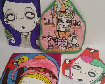 Grab bag,bookmarks,notebook,notecard,witches,creepy,lady,punk,goth,skulls,assorted,party,birthday