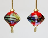 dichroic glass drop earrings Chinese red sparkle  earrings paulbead diamond shaped zen style brass earrings sexy earrings lampworlk glass