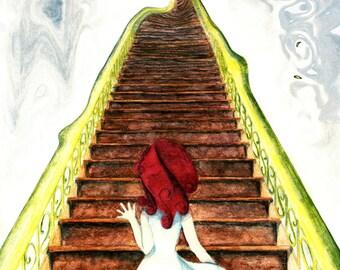 Painting - water color - watercolor -  Girl upstairs - art digital print download - pagan magical girl red yellow brown wiccan