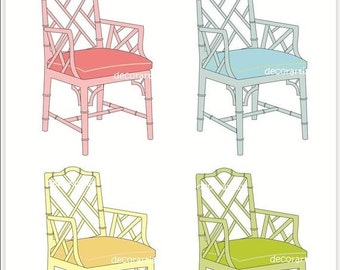 ON SALE Chair clip art, Instant download Digital clip art for all use, furniture Chippendale chair 2