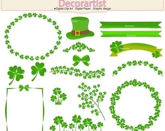 ON SALE clover leaves clip art,St. Patrick's Day clip art, St. Patrick clover leaf clip art, shamrocks clip art, green leaf clip art