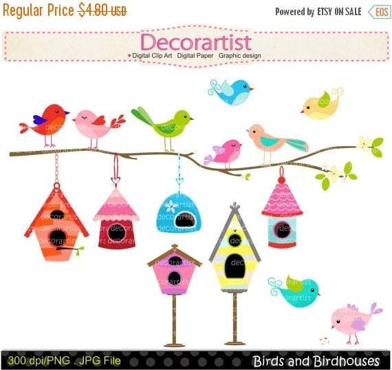 ON SALE Digital clip art birds and birdhouse, birdcage , bird clip arts, invitations, card making, INSTANT Download