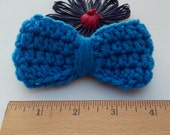 Royal Blue Bow / Bows / Crochet Bow / Applique / Craft Bows / Yarn Bows / Craft Supply /