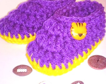 Baby Booties, Slippers.....in LSU Tigers Purple and Gold