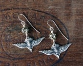 Silver Dove of Peace Earrings with Rhinestones