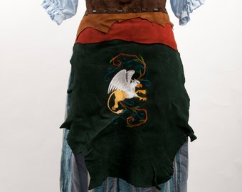 Brown green leather battle skirt gryphon embroidery larp fantasy fair costume forest mage druid armor banner warcraft cosplay Harry Potter
