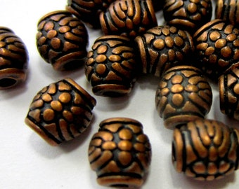 30 Antique copper beads barrel spacers jewelry making supplies 6mm x 6mm  lead free nickel free 604Y-(W4)