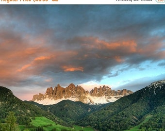 SALE - Ships Aug 27 - Mountain Sunset Photo, Italy Photography Italian Alps Swiss Valley Dolomites Spring Landscape Wall Art ita10