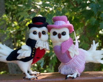 Dapper Gentleman Owl and or Lady Bird Owl Needle felted Bird Animal Needle Felted Soft Sculpture by Bella McBride