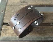 Leather zodiac cuff bracelet- Leo