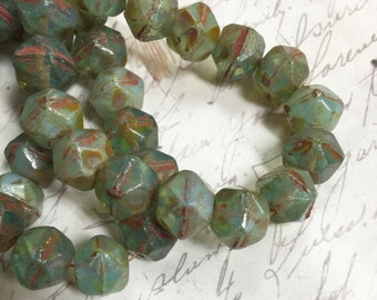 10mm English Cut Beads Green Aqua Opalite Czech glass beads