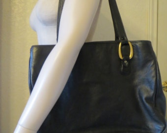 vintage HUGE Black Leather Tote Bag by Aspects of New York