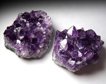 Pair of Uruguayan Amethyst Clusters, Dark AA Grade Pieces // Third Eye Chakra // Crystal Healing // Mineral Specimen