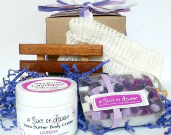 Best Friend Gift Set, Lavender Bath Gift Set, Spa Gift Box, Soap, Soap Dish, Soap Saver Pouch, Shea Butter Cream, Hostess Gift, Holiday Gift