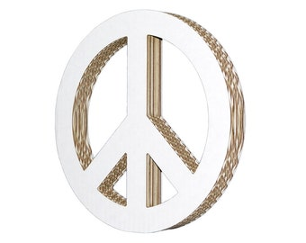 Cardboard Peace Sign White Small