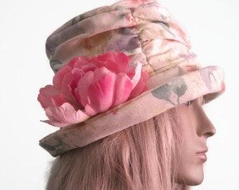 Cloche Hat Bucket Hat Creme Floral blue pink yellow Women's Hat