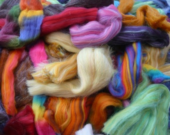 Heidifeathers Posh Wool Scraps and Off Cuts - Merino and Silk or Bamboo, Space Dyed...