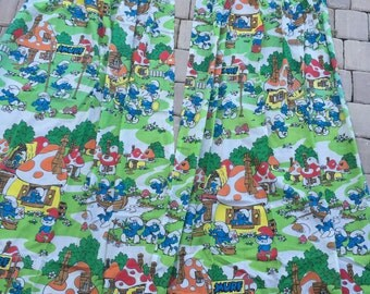 Vintage Smurf Pair of 2 Pinch Pleat Panel Curtains VGUC 80's Bedding Decor