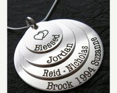 25% off sale - Personalized Necklace - Engraved Jewelry - Mother Necklace - Silver Jewelry - PIPER Mom engraved necklace