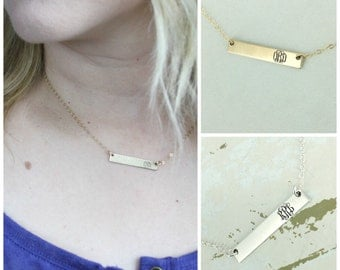 Monogram bar necklace - Personalized bar necklace - Gold-filled, Sterling silver, or rose gold-filled - Monogram necklace - initial necklace