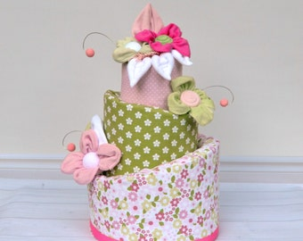 Baby Girl Diaper Cake, Green and Pink Baby Shower, Flower Diaper Cake, Unique Baby Gift, Baby Shower Centerpiece or Decoration