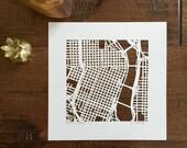 Portland, San Diego, or Coronado hand cut map, 10x10