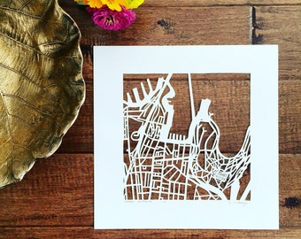 Sydney, Cape Town, or Auckland hand cut map ORIGINAL , 10x10.