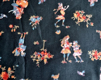 Vintage Fabric - Tole Folk Children on Black - By the Yard