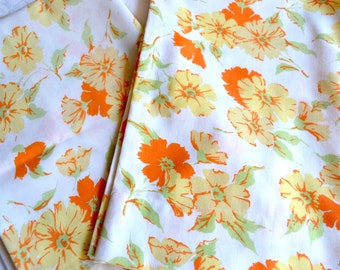 Vintage Pillowcases - Orange and Yellow Wildflowers - Standard Size Pair