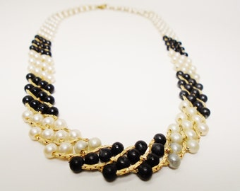 Vintage Bridal Choker Black & White Woven Rows Gold Serpentine Signed Citation 1980's Something Old Jewelry Runway Statement Art Nouveau