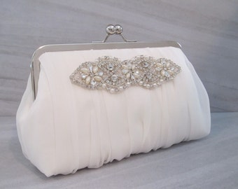 Romance Collection Rhinestone Pearl Ruched Ivory Chiffon Clutch,Bridal Accessories, Clutch,Bridal Clutch,Bridesmaid Clutch