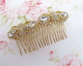 Gold Bridal Hair Comb,Rhinestone Wedding Hair Comb,Bridal Hair Accessories,Wedding Accessories,Decorative Hair Comb,#C28