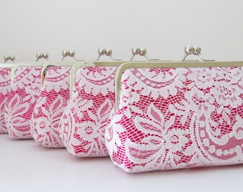 SALE 20% OFF, Jardin Silk And Lace Clutch Set Of 6,White Lace,Wedding Bags And Purses,Bridesmaid Clutches,Bridal Accessories