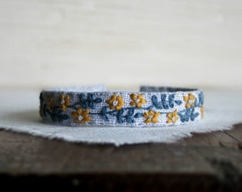 Hand Embroidered Cuff Bracelet - Golden Yellow and Dusty Blue Floral Embroidery on Grey Linen Cuff Bracelet