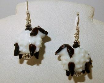 Hand blown glass sheep, lamb earrings w/ Swarovski crystals