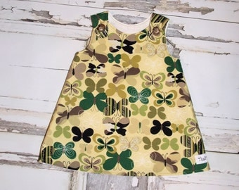 Camo Butterflies Aline Dress Sz. 0 3 6 12 18 24 Months Handmade Baby Shower Birthday Made in USA Camouflage Military Army Homecoming
