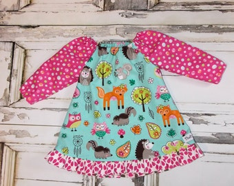 Woodland Friends Long Sleeve Ruffled Peasant Dress 2T 3T 4T 5 6 7 8 10 Made in USA Fox Owls Hedgehog Skunk Animals Squirrel Dreamcatchers