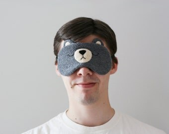Grey Bear Sleep Mask, Relaxing Woodland Eyewear, Travel Eye Mask, Soft Silk Back