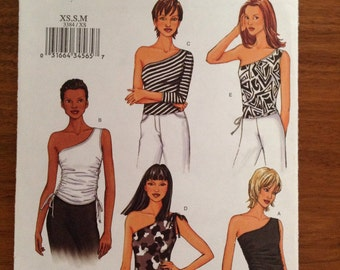 UNCUT Butterick 3384 Misses Off-Shoulder Top Sewing Pattern. Size XS, S, M
